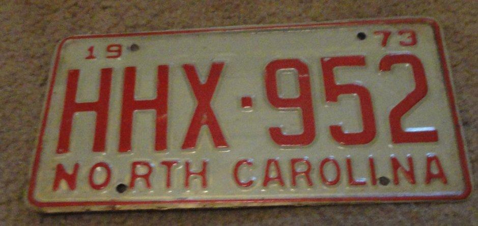 1973 HHX 952 North Carolina license plate