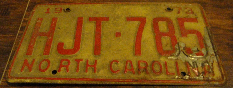 1973 HJT 785 North Carolina license plate