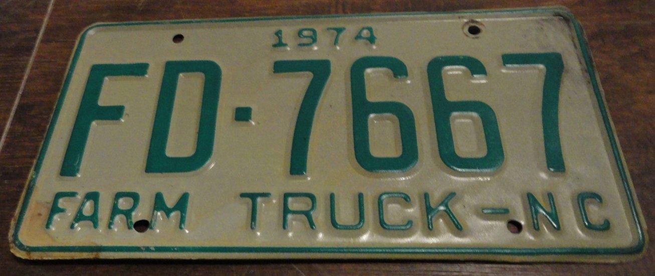 1974 FD 7667 North Carolina farm truck license plate