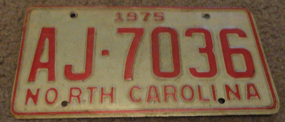 1975 AJ 7036 North Carolina license plate