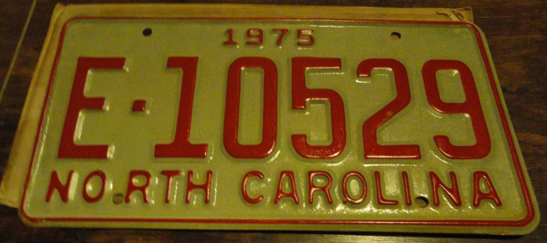 NOS 1975 E 10529 North Carolina license plate new old stock
