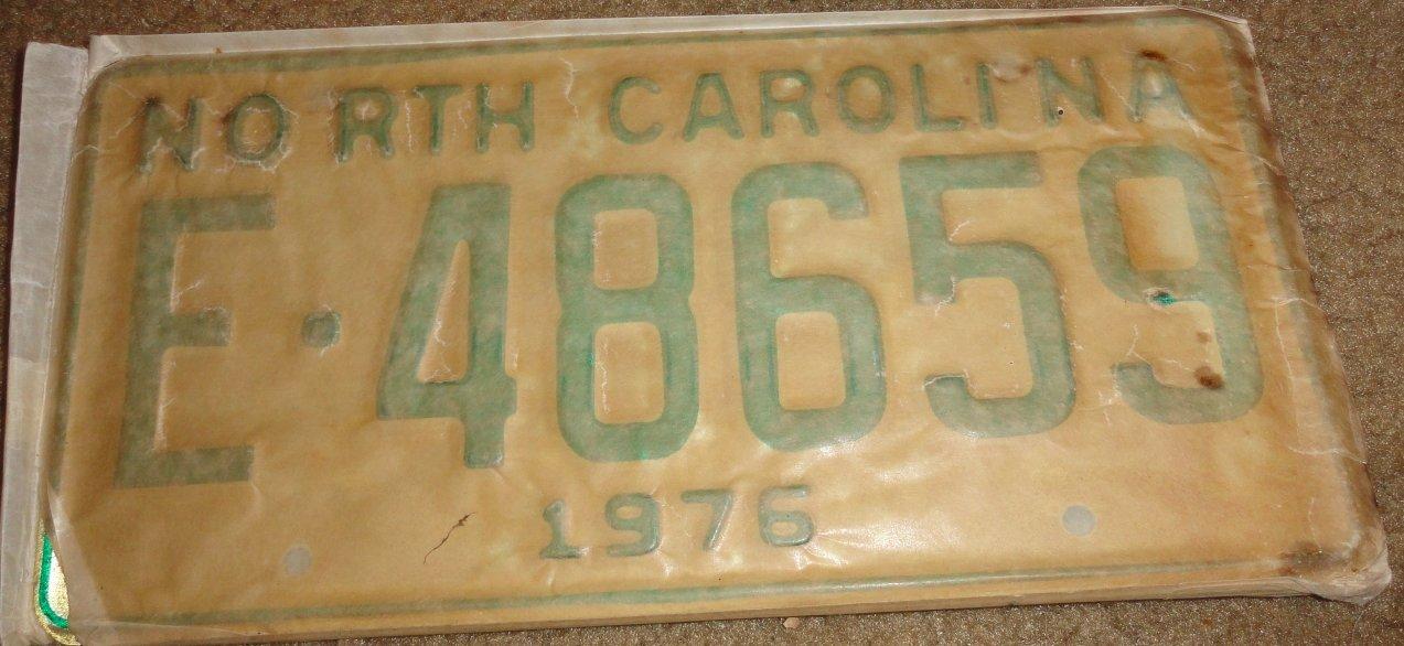 NOS 1976 E 48659 North Carolina license plate new old stock