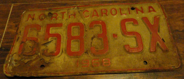 1968 6583 SX North Carolina license plate