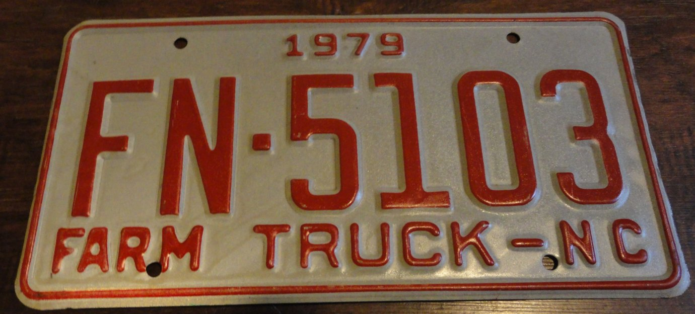 NOS 1979 FN 5103 North Carolina farm truck license plate new old stock