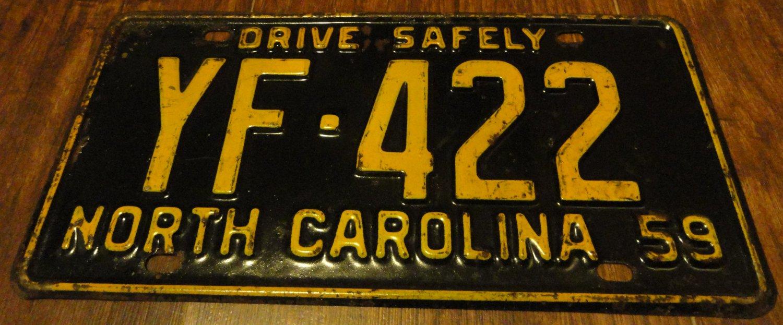 1959 YF 422 North Carolina license plate