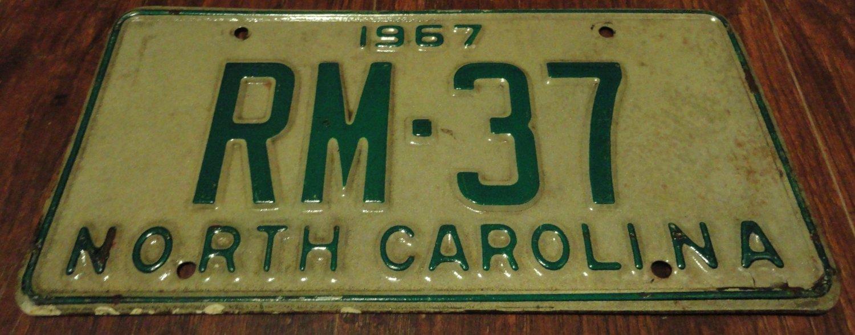1967 RM 37 North Carolina license plate