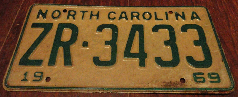 1969 ZR 3433 North Carolina license plate