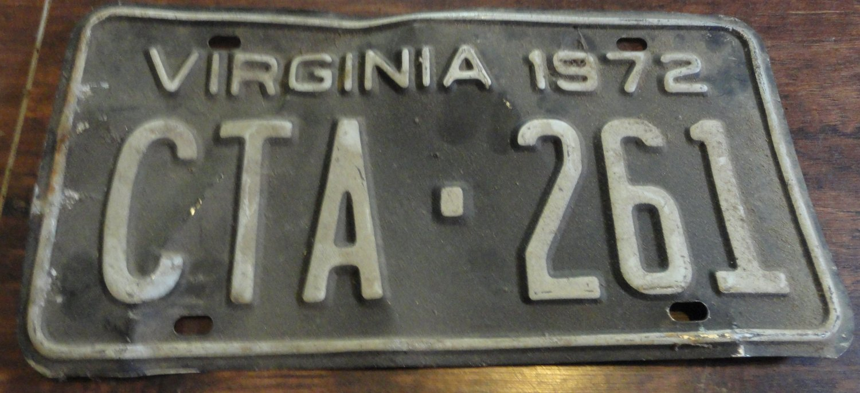 1972 CTA 261 Virginia license plate
