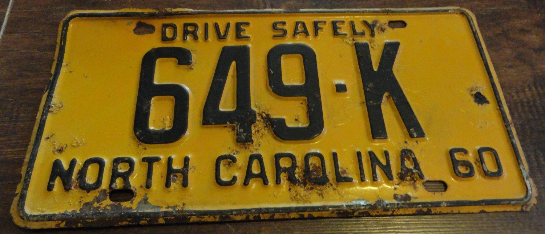 1960 649 K North Carolina license plate