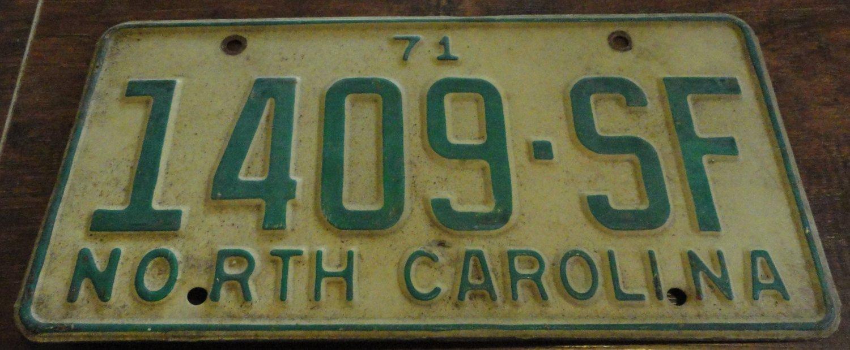 1971 1409 SF North Carolina passenger truck license plate