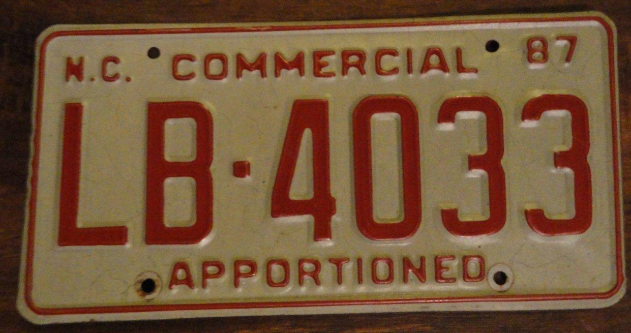 1987 LB 4033 North Carolina commercial license plate
