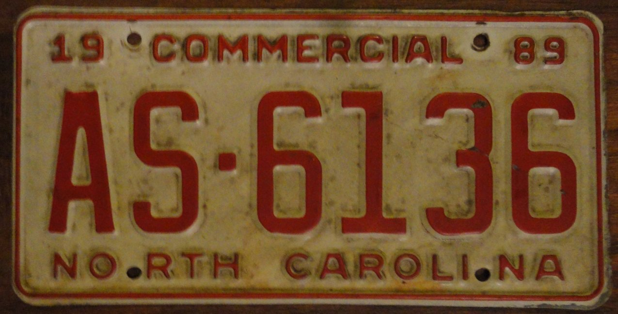 1989 AS 6136 North Carolina commercial license plate
