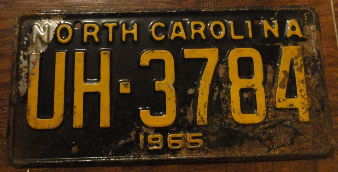 1965 UH 3784 North Carolina license plate