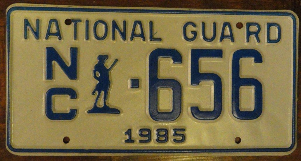 NOS 1985 North Carolina National Guard license plate 656 new old stock