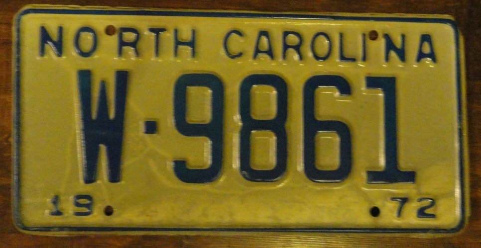 NOS 1972 North Carolina license plate W 9861 new old stock