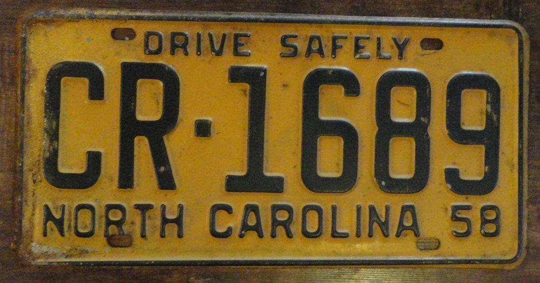 1958 North Carolina license plate CR 1689