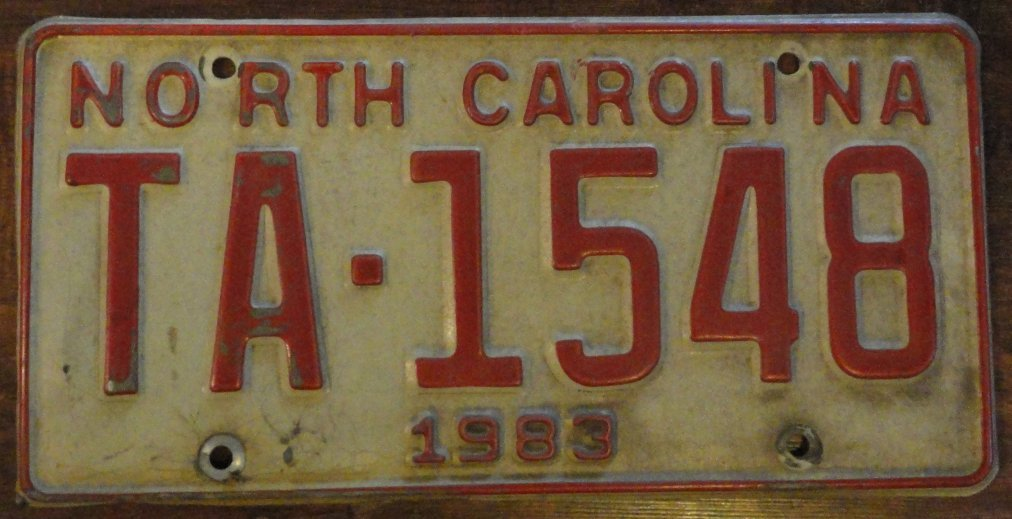 1983 North Carolina license plate TA 1548
