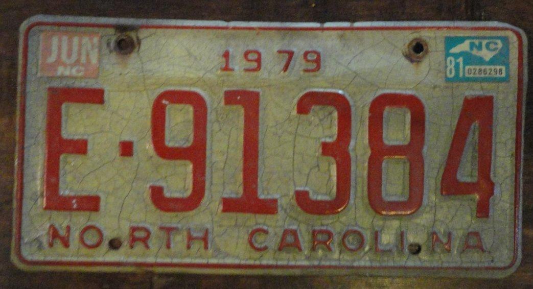 1979 North Carolina license plate E 91384 with June 1981 stickers