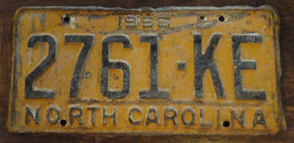 1966 North Carolina license plate 2761 KE