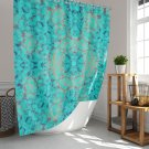 "Turquoise Orange Animal Print Mandala Fabric Shower Curtain Size is 71""x74"""