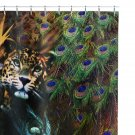 "Graphic Fabric Shower Curtain 71""x74"" Exotic Leopard Peacock Feather Bird of Paradise Safari Print"