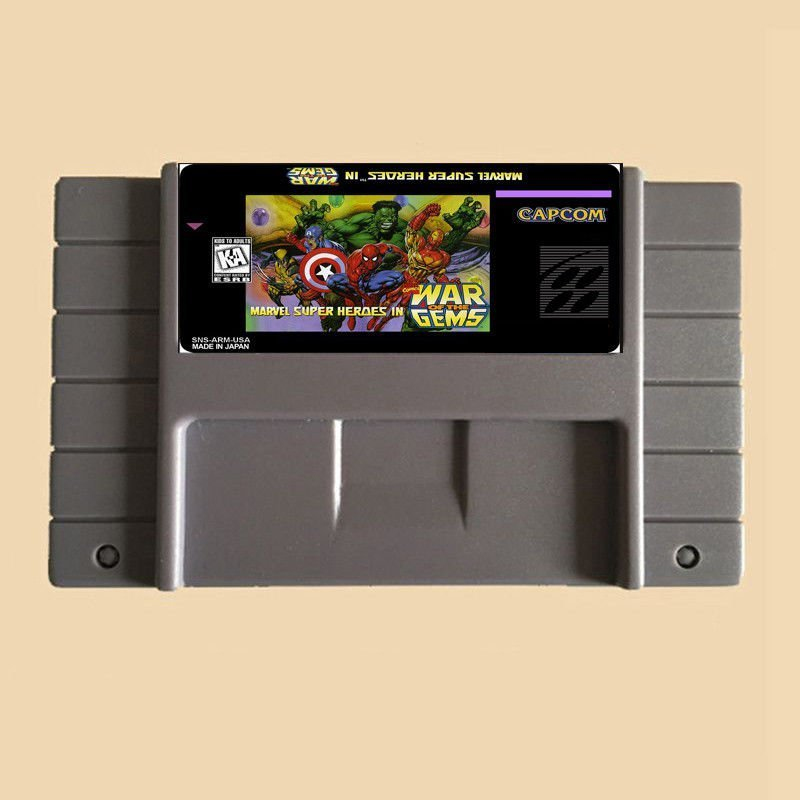 Marvel Super Heroes In War Of the Gems SNES Cartridge Card US Version English