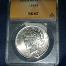 1923 P Peace Silver Dollar, ANACS Graded MS-62, Nice Clean Coin.