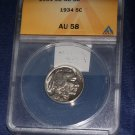 1934 P Buffalo NIckel, ANACS AU 58, Nice Clean Coin, Authentic,