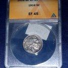 1919 P Buffalo Nickel, ANACS EF-45,  Sharp and Clean.