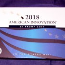 2018 S American Innovation $1 Proof Coin in Mint Box & C.O.A. 1st patent signed