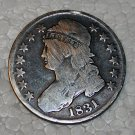 1831 Capped Bust Half Dollar, Fine, 90% Silver, Uncleaned, Rare, Key coin,