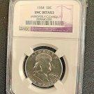 1954 P Ben Franklin Fifty Cent Coin, BU,GEM, 90% Silver Content