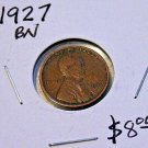 1927 P Lincoln Penny, Extra Fine, Brown, Little Rubbing on coin,
