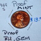 1969 S Lincoln Penny, Fine Fine Detail, Uncirculated, Proof, Mint, BU