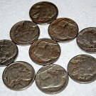 9 Buffalo NIckel Coins,all dates can be read, clean, a couple are badly rubbed.