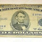 1953 Five Dollar Bank Note, Blue Seal, Anderson, Series A, Silver Certificate