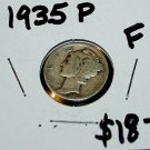 1935 P Mercury Dime, Circulted, Good to Fine Condition, Little Rubbing
