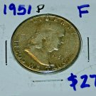 1951 P Ben Franklin Half Dollar,Nice Surface,Fine, Circulated, Clean