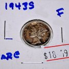 1943 S Mercury Dime, Fine Condition, some rubbing and worn spots.  Date readable
