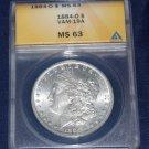 1984 O Morgan Silver Dollar, ANACS MS-63, VAM 19A. Die Break Reverse side of coin