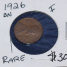 1926 Lincoln Penny, Fine Condition, rare and brown