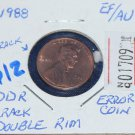 1988 Lincoln Memorial Penny, Extra Fine, Error Coin, Looks Proof-like