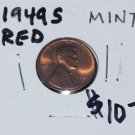 1949 S Lincoln Wheat Penny, Almost Mint, red, and in great condition.