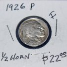 1926 Indian Head Nickel, Five, 1/2 Horn, rubbed and clean,