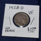 1928 D Buffalo Nickel, Very FIne, No Horn, Date Clearly Seen,