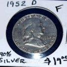 1952 D Ben Franklin Half Dollar, 90% silver, Fine, nice coin,