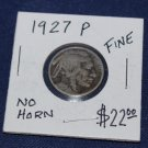 1927 P Buffalo NIckel, No Horn, Fine, not cleaned, Some Rubbing,