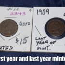 1859 Indian Head Penny, Good, First year minted & 1909 Indian Head Penny, Good, last year minted.