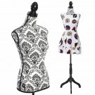 Female Mannequin Body Torso W/ Black Tripod Stand for Clothing Dress Display
