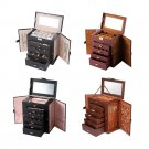Jewelry Box Sturdy Storage Organizer Case Ring Earring Necklace Mirror Leather Box Gift